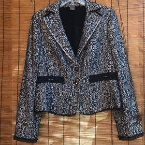 Ann Taylor tweed blazer chiffon lining fringe chic