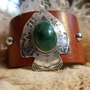 Green Agate Stamped Sterling Arrow Leather Cuff