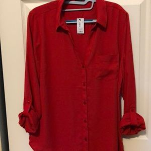 NWT Red Button up Blouse with adjustable arms