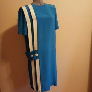 Vintage 80's Blue Silk Sheath Dress