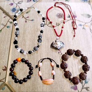 LOT 5 AGATE STONES CRYSTAL WOOD Bracelet Necklace