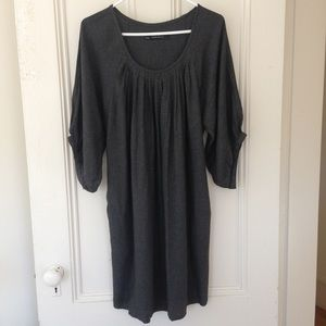 ZARA Grey Tunic Top Mini Dress Elegant 3/4 Sleeve