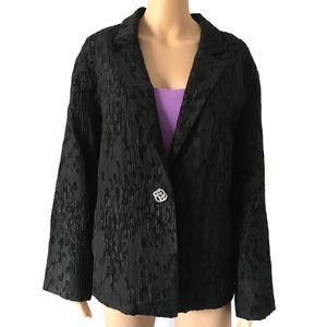 Eileen Fisher Black Chenille Button Jacket 3X