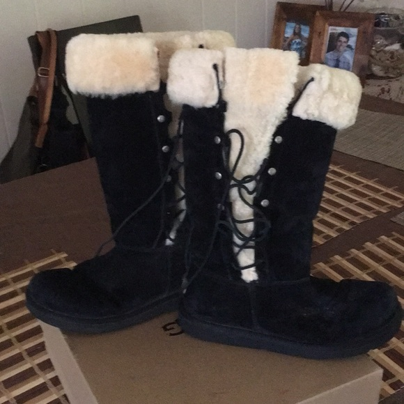 6cd16c44d84 Uggs tall. Upside suede shearling lace up boots
