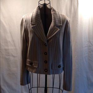 St. John crop white and navy jacket