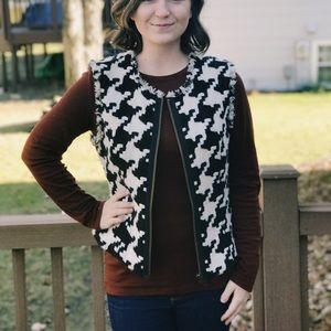 Herringbone Knit Vest w/ fringe Detail