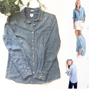 J. Crew perfect fit chambray button down shirt