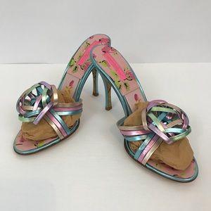 Betsey Johnson Metallic Slide Heels