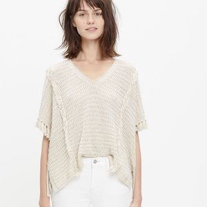 Madewell Cream Fringe Pullover Sweater
