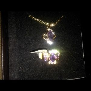 Amethyst set ring and pendant with small cz's.