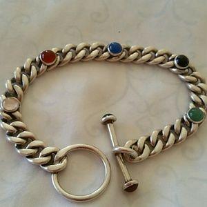 "Gorgeous Multi Gem & Sterling Bracelet, 8"""
