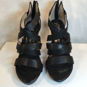 You by Crocs Black Strappy Heels w/Zipper