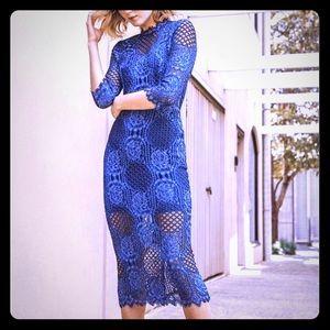 Alexis Miller Lace Midi Dress Blue