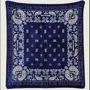 True Religion Navy Blue Bandana Blanket Throw