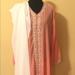 👗CUTE PEACH & WHITE SALWAR KAMEEZ INDIAN DRESS👗