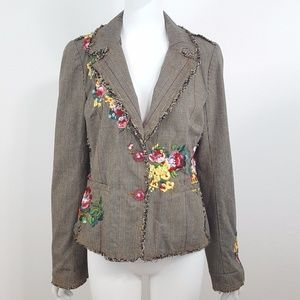 {Johnny Was} Floral Embroidered Plaid Blazer M