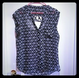 Maurices Black & White Sheer Blouse