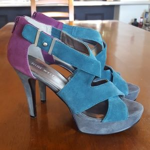 NINE WEST suede colorblock heels