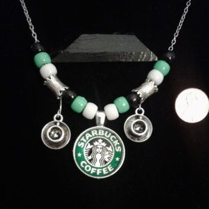 Starbucks Coffee Necklace charms silver green