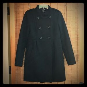 H&M wool blend pea coat warm cozy comfy heavy chic