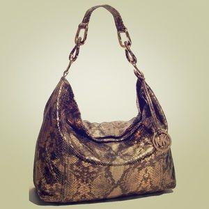 MICHAEL Michael Kors Gold Python Leather Bag Zip