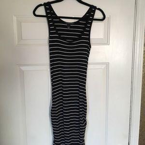 Black with white stripes tank dress size small