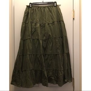 Olive Green Crinkle Skirt