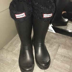 Tall Black Hunter boots with the Hunter Socks
