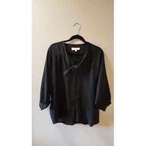 LOFT sheer black blouse