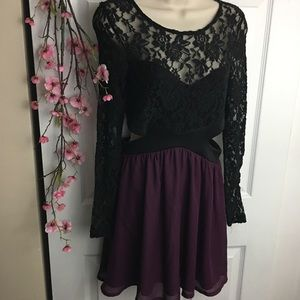 Lace Sleeve Side Cut Out Purple & Black Dress