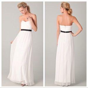 BCBGMAXAZRIA Silk Amber Cascade Gown White EUC