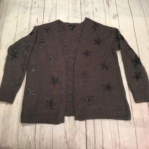 H&M Womens Gray Sweater Cardigan Large Stars Gray