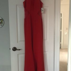 Aidon Mattox Lace-Inset Gown. New