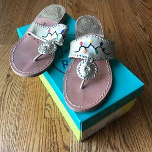 Jack Rogers Christmas Lights Gold Sandals