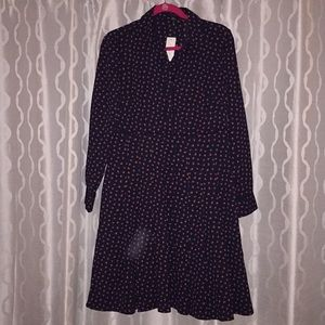 Ann Taylor midi dress navy with red pattern