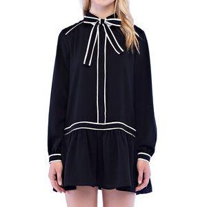 Black Mini Dress with Tie