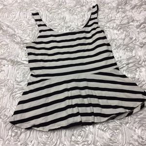 Express black and white striped peplum top