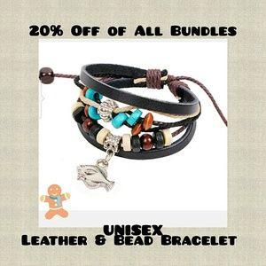 New Unisex Leather Charm Bracelet