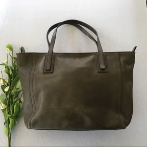Fossil Canteen Olive Green Leather Shopper Tote