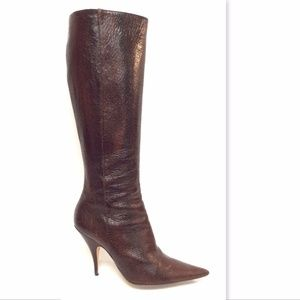 CHRISTIAN DIOR Brown Crackle Leather Boots 39