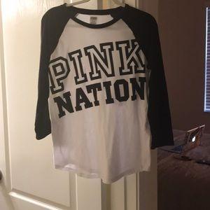 Pink nation baseball tee