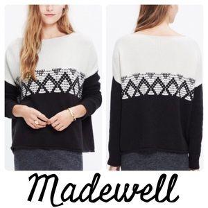 Madewell Contrast Fair Isle Pullover Sweater Black