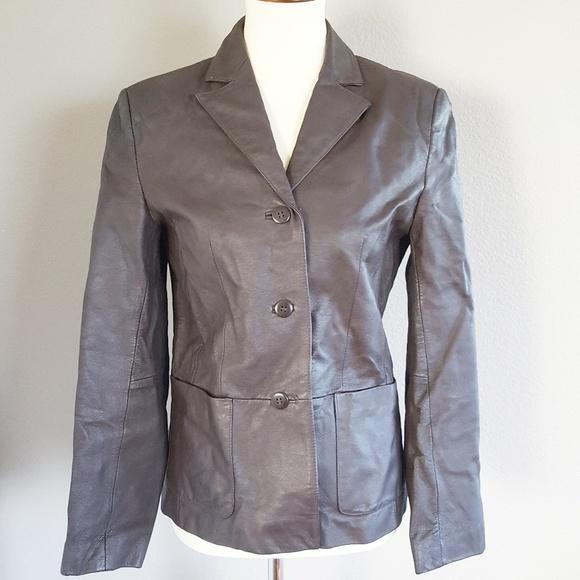 CLIO Leather Jacket Dark Brown Size Medium