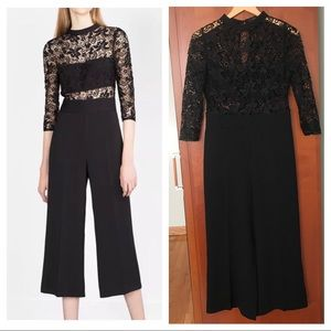 Zara Lace Jumpsuit Sz M Medium Black