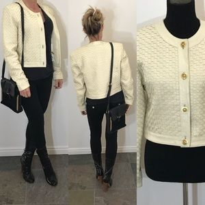 Michael Hoban Woven cream leather jacket