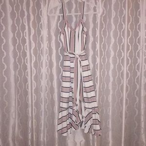 LOFT summer dress red and blue stripes