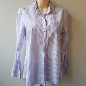 NWT Women's Purple White Button Down Shirt