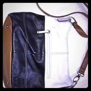 Tignanello black and white leather bag