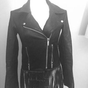 Black Nour Hammour Luxury Leather Fringe Jacket