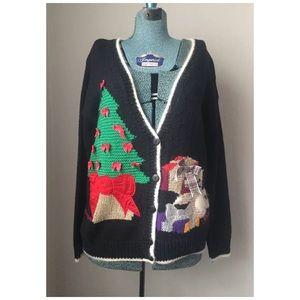 Vintage Ugly Christmas Sweater Cardigan